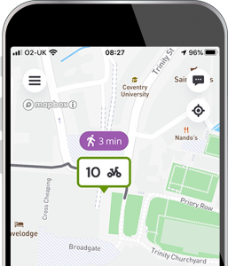 Phone with app map and route